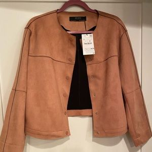 NWT Light Pink Faux Suede Zara Jacket